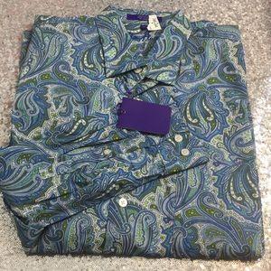 NWT Alan Flusser paisley long sleeve shirt